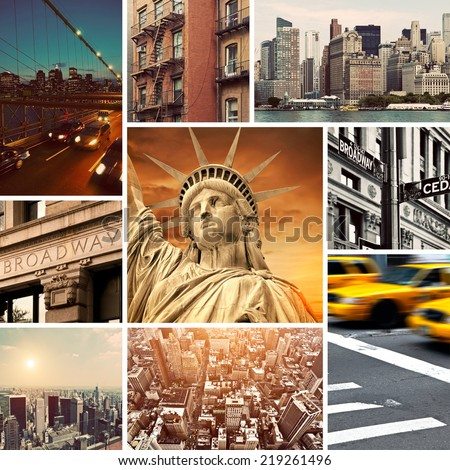 Vintage Manhattan-New York Collage - stock photo