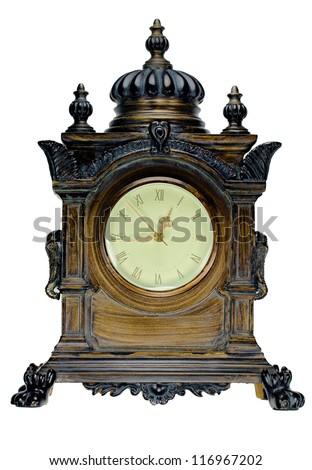 Vintage mantle clock isolated on white - stock photo