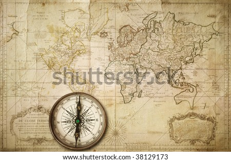 vintage map made in 1676 - stock photo
