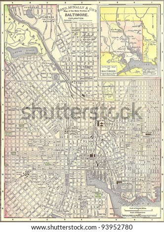 Vintage 1891 map of Baltimore; out of copyright From old Atlas of the World