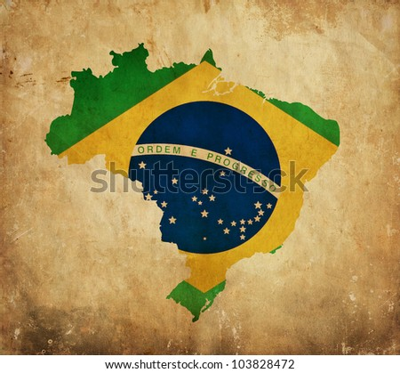 Vintage map of Brazil on grunge paper - stock photo