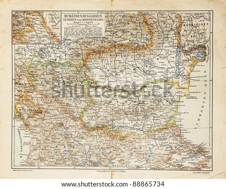 Vintage map of Eastern Europe from the end of 19th century. Picture from the original Meyers Lexicon (written  German language) book edition 1908. - stock photo