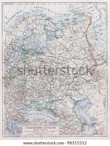 Vintage map of European Russia at the end of 19th century -  Picture from Meyers Lexicon books collection (written in German language ) published in 1909, Germany.