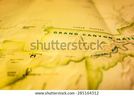 vintage map of grand canyon national park and surroundings - stock photo