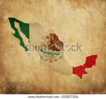 Vintage map of Mexico on grunge paper - stock photo