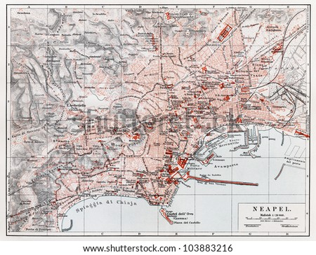 Vintage map of Naples (Napoli) at the end of 19th century - Picture from Meyers Lexikon book (written in German language) published in 1908 Leipzig - Germany. - stock photo