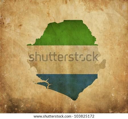 Vintage map of Sierra Leone on grunge paper - stock photo