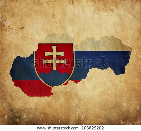 Vintage map of Slovakia on grunge paper - stock photo