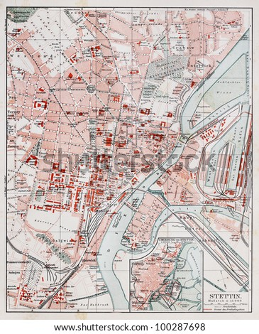 Vintage Map Szczecin End 19th Century Stock Photo Royalty Free