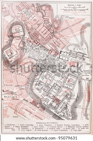 Vintage map of the Imperial forums of Rome and the ancient Palatine Hill -  Picture from Meyers Lexicon books collection (written in German language ) published in 1909 , Germany.