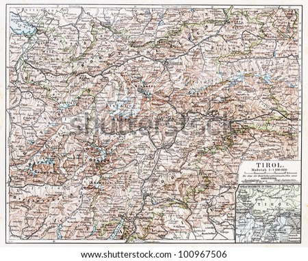 Vintage map of Tyrol state at the end of 19th century - Picture from Meyers Lexicon books collection (written in German language) published in 1908, Germany.
