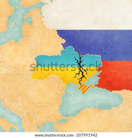 Vintage Map Ukraine Black Crack Illustration Stock Illustration
