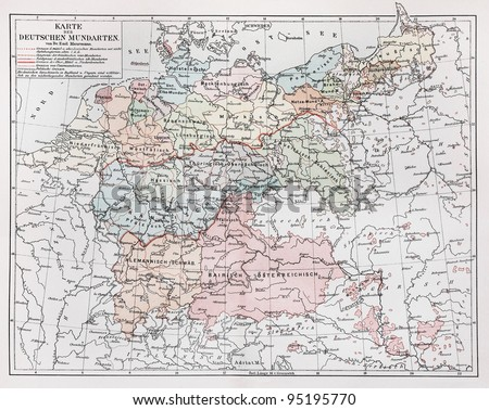 Vintage map representing German Dialects in year 1900 - Picture from Meyers Lexicon books collection (written in German language ) published in 1906 , Germany.