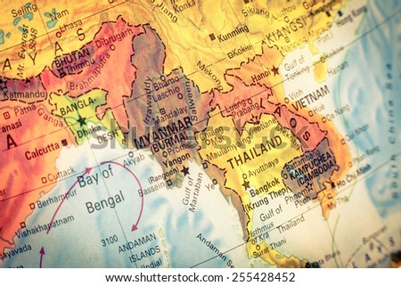 Vintage Map Thailand and Laos .  Close-up macro image of Thai  map . Selective focus on Bangkok - stock photo