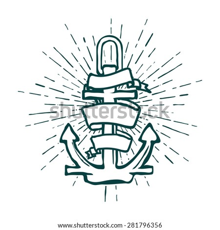 Vintage Marine Anchor isolated engrave. illustration - stock photo