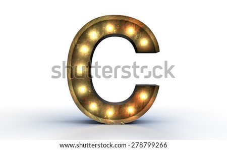 Vintage marquee light C alphabet sign, typography isolated on white background - stock photo