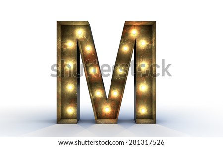 Vintage marquee light M alphabet sign, typography isolated on white background - stock photo