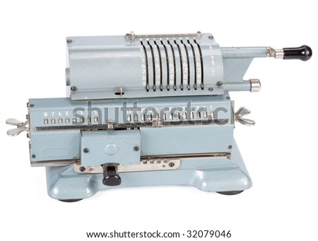 Vintage mechanical adding machine on a white background