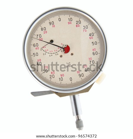 Vintage mechanical micrometer. Isolated on white background. - stock photo