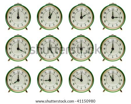 Vintage mechanical wind-up alarm clock  set on white background - stock photo