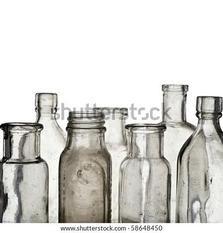 Vintage medicine bottles - isolated on white ground - stock photo