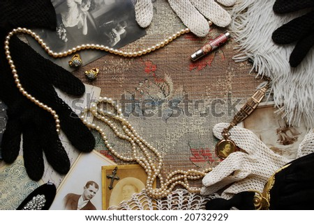 Vintage memories with old photos and fashion accessories - stock photo