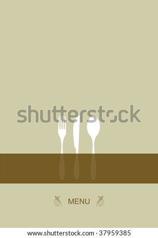 Vintage Menu Background. Food and restaurant design with cutlery silhouette.