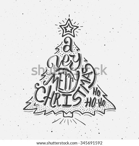 Vintage Merry Christmas Greeting Card Design Stock Illustration ...