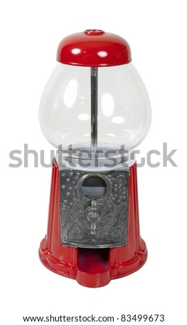 Vintage metal and glass gumball machine - path included - stock photo