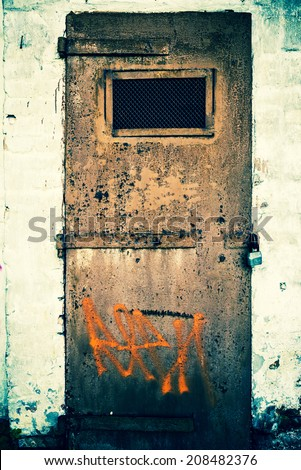 vintage metal door background  - stock photo