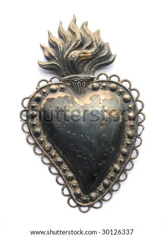 vintage metal heart - stock photo