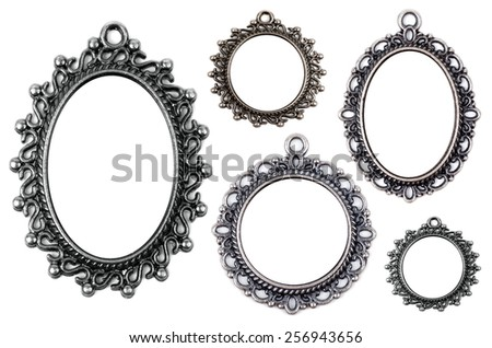 Vintage metal medallion frames, isolated on white