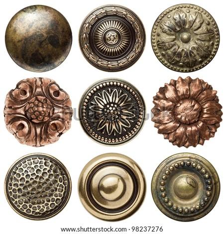 Vintage metal sewing buttons, isolated - stock photo