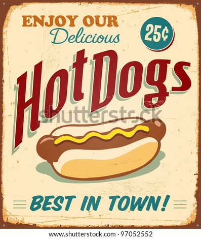 Vintage metal sign - Hot Dogs - Raster Version - stock photo