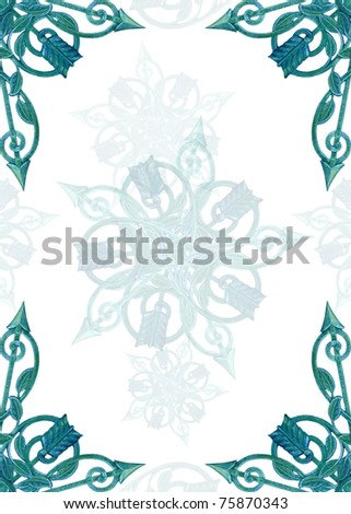 vintage metalwork as border, frame, background - stock photo