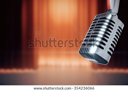 Vintage microphone at stage with the scenes background 3D Render - stock photo