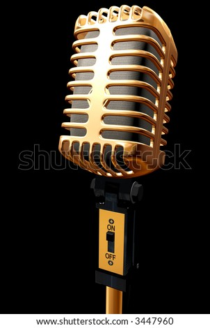vintage microphone made in 3d – isolated over a black background - stock photo