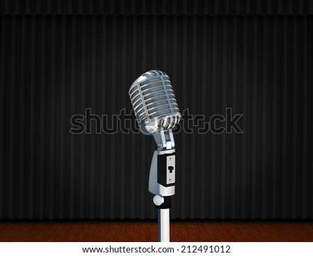 vintage microphone on Theater stage with curtains and spotlights Theatrical scene in the light of searchlights, the interior of the old theater