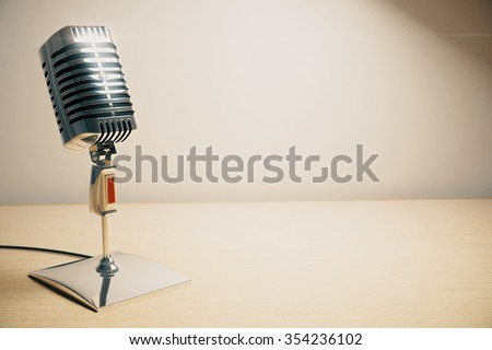 Vintage microphone on white wooden table 3D Render - stock photo