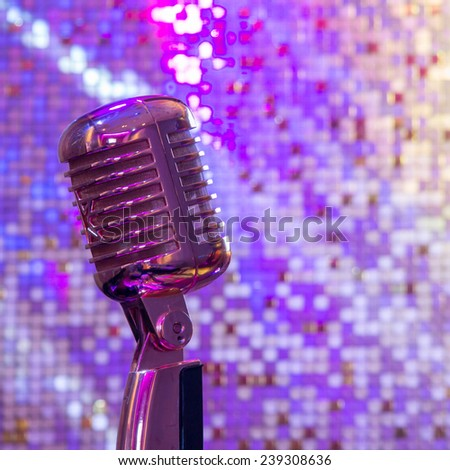 VIntage Microphone with stage lighting  - stock photo