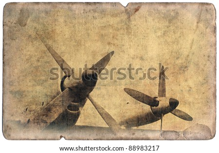 Vintage military postcard isolated on white background, aircraft engines - stock photo