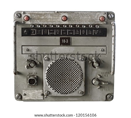 Vintage Military Receiver Isolated on White - stock photo