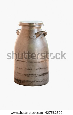 vintage milk tank, old milk container  isolated on white