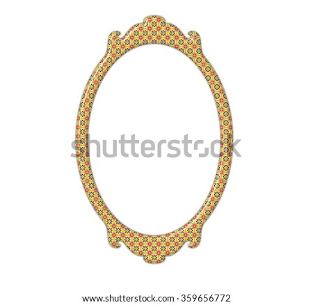 Vintage mirror frame with rectangle shape and retro pattern isolated on white background - stock photo