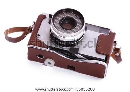 Vintage 35mm camera - stock photo