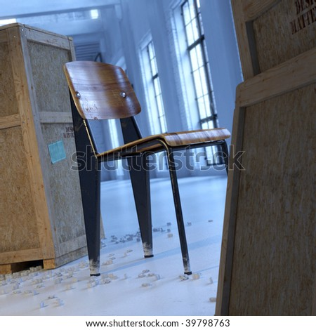 Vintage modern designer chair in loft with wood crates (3D render) - stock photo