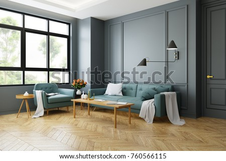Vintage Modern Interior Of Living Room Green Sofa With Wall Lamp On Parquet Flooring And