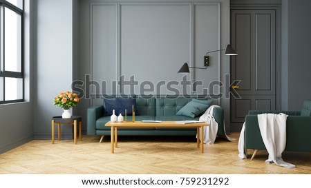 Vintage Modern Interior Of Living Room Green Sofa With Wall Lamp On Wood Flooring And