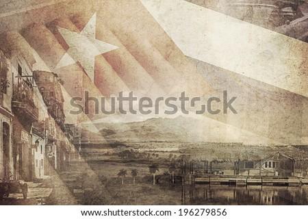 vintage montage photo of Cuba - stock photo