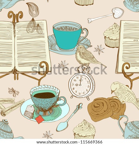 vintage morning tea background. seamless pattern for design, illustration - stock photo